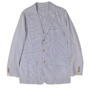 J.Crew Striped Seersucker Cotton 3 Button Blazer M